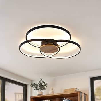 Lindby Riley plafonnier LED, dimmable, noir