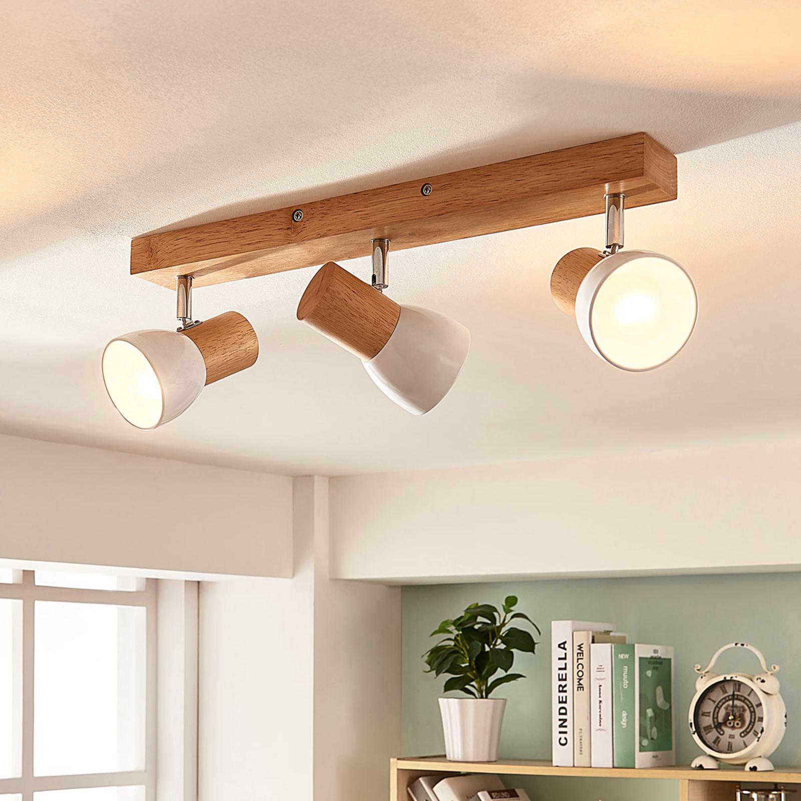 Dřevěná stropní lampa Thorin, tříbodová