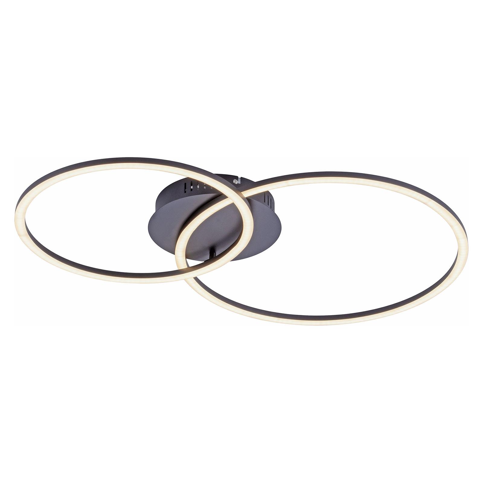 Ivanka LED-taklampe, to ringer, svart