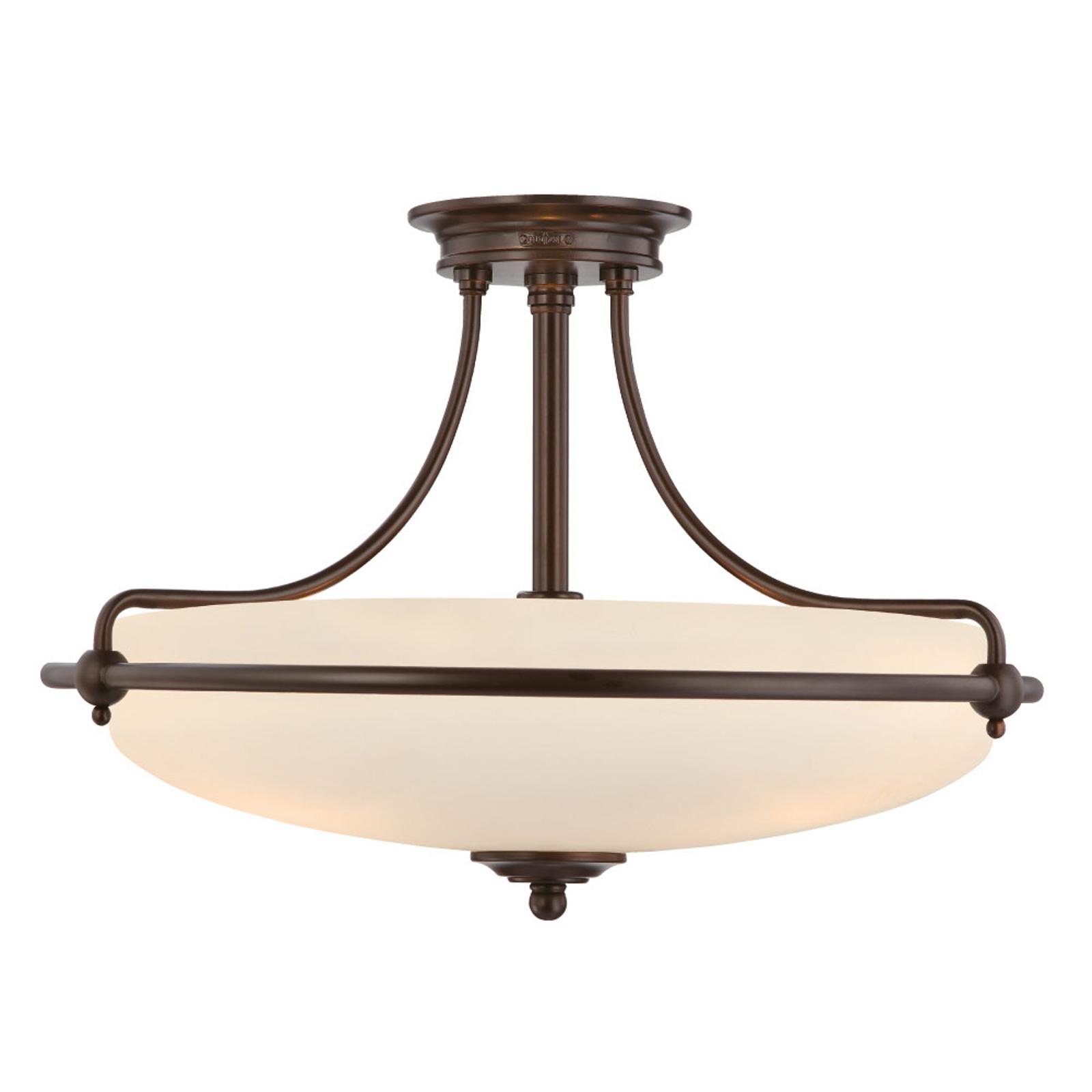Lampa sufitowa Griffin z dystansem, brązowa, Ø53cm