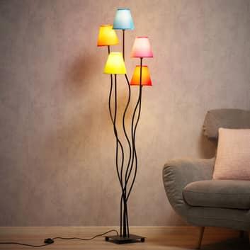 Tekstil gulvlampe Colori med 5 lyskilder farvet
