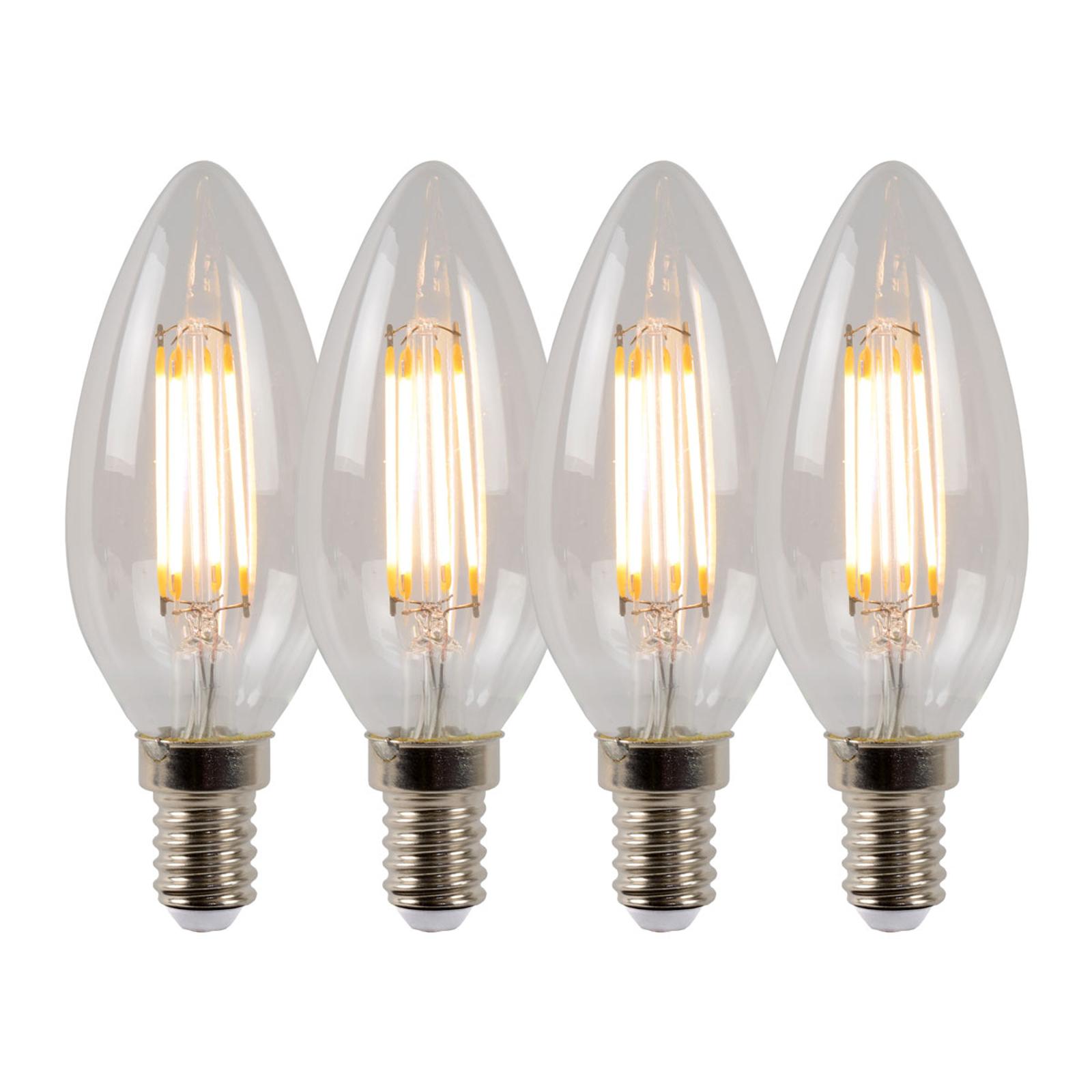 LED-kertepære E14 4W 2700K, kan dæmpes, sæt m. 4