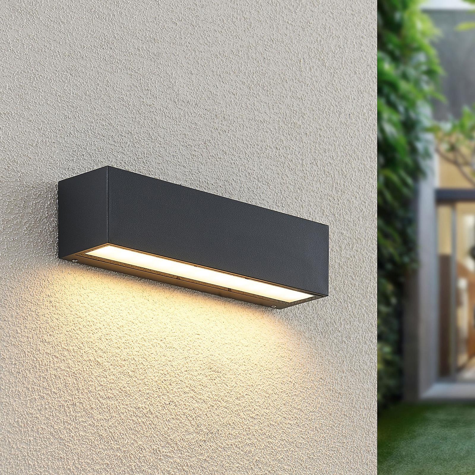 Lucande Lengo LED-væglampe, 25 cm, grafit, 1 lk.