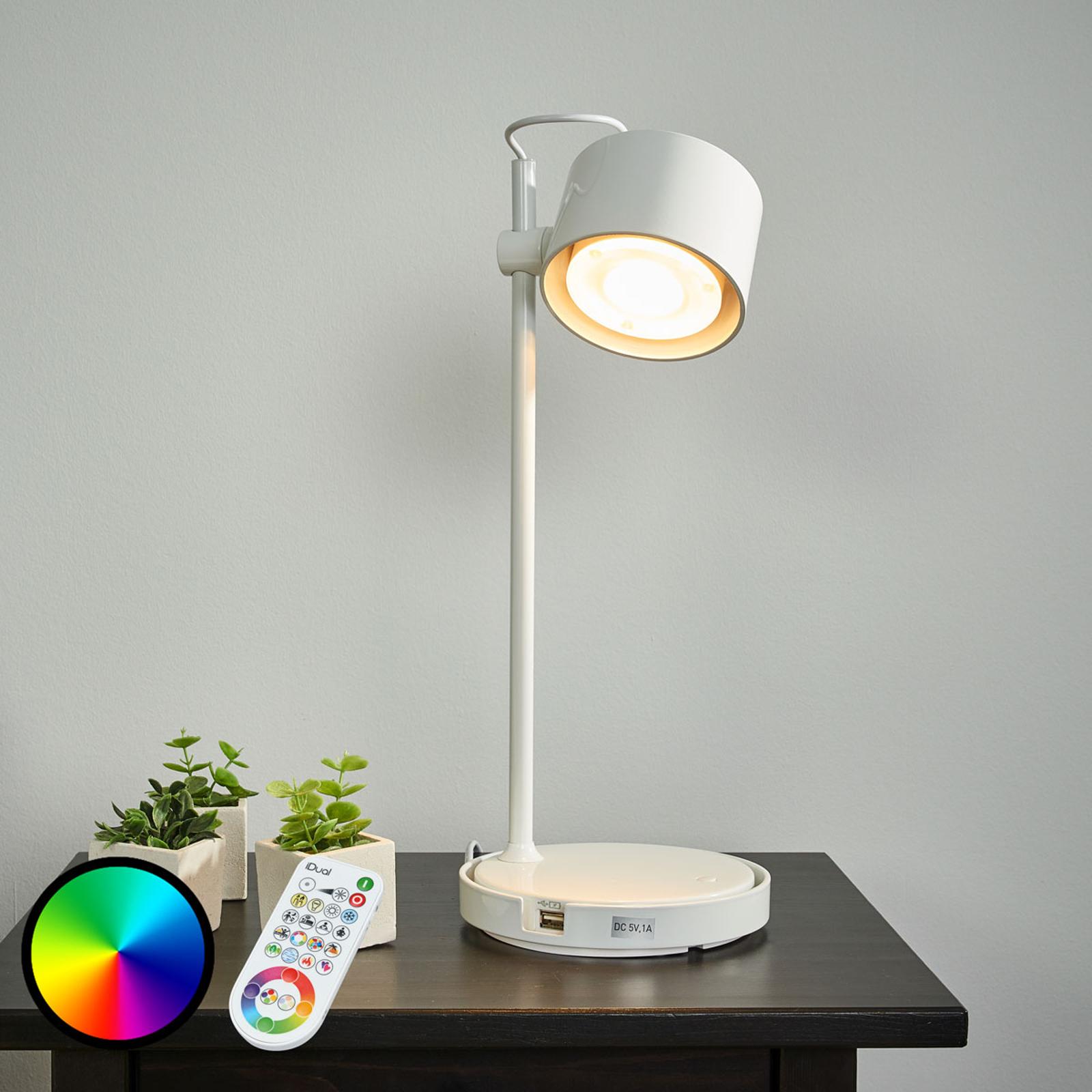 Kiiltävän valkoinen Jasmine-LED-iDual-pöytävalo