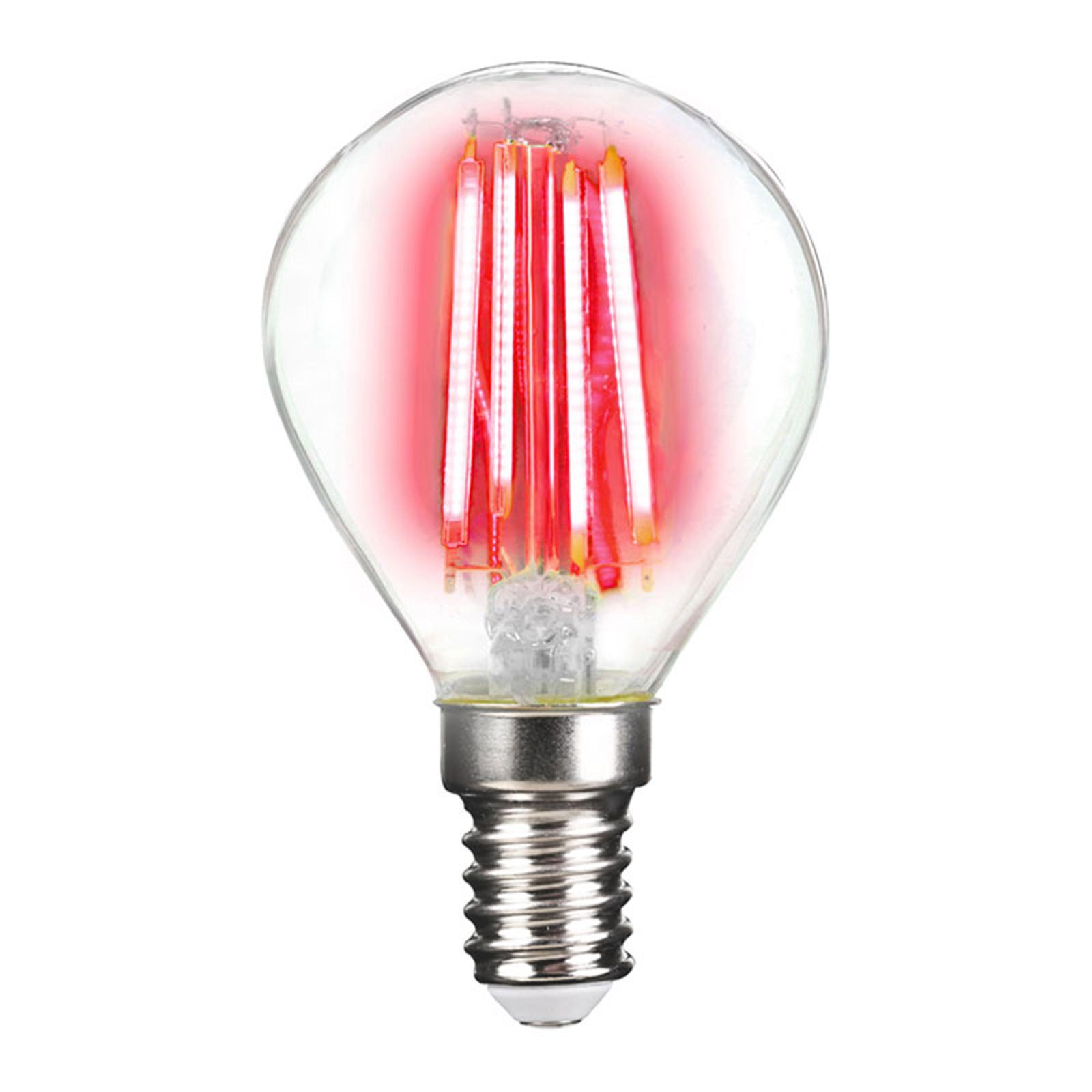 LED lamp E14 4W filament, rood