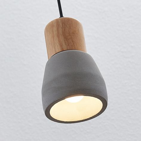 Betonowa lampa wisząca Margot z drewnem 1-punktowa