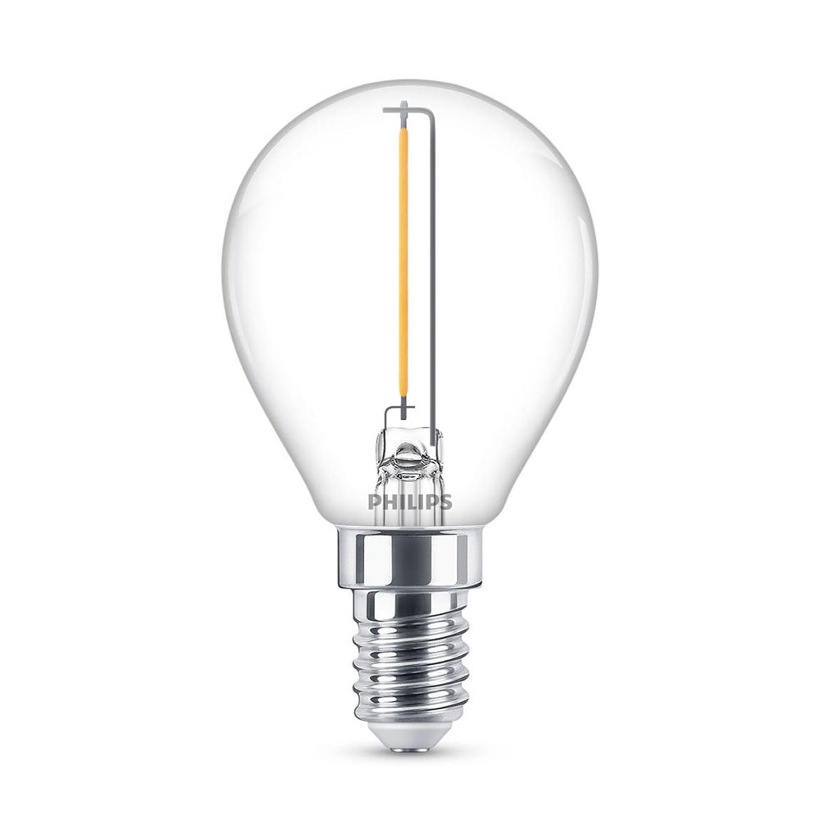 Philips LED Classic dråpepære E14 P45 1,4 W klar