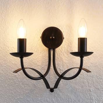 Lindby Amonja -seinälamppu, 2-lamppuinen, ruskea