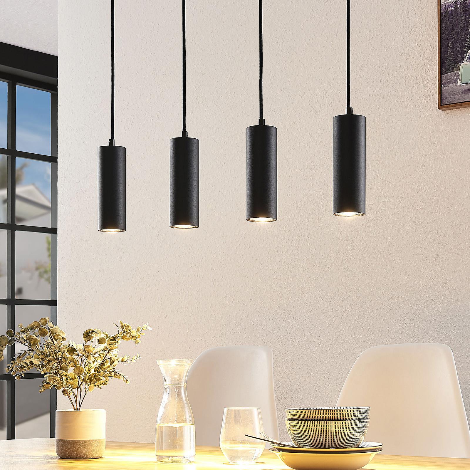 Lindby Joffrey lámpara colgante, 4 luces, negro