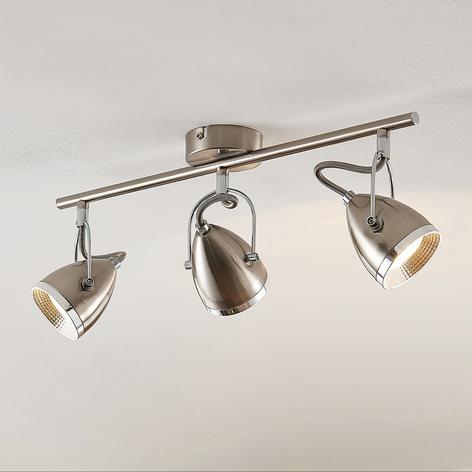 Lindby Jadon LED stropní světlo nikl 3žár. dlouhé