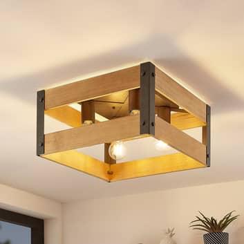 Lindby Gudula plafondlamp van hout en ijzer