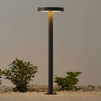 Soldriven LED-väglampa Linja, rund, mörkgrå