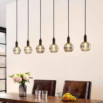 Lucande Ably hanglamp, rookglas, 6-lamps