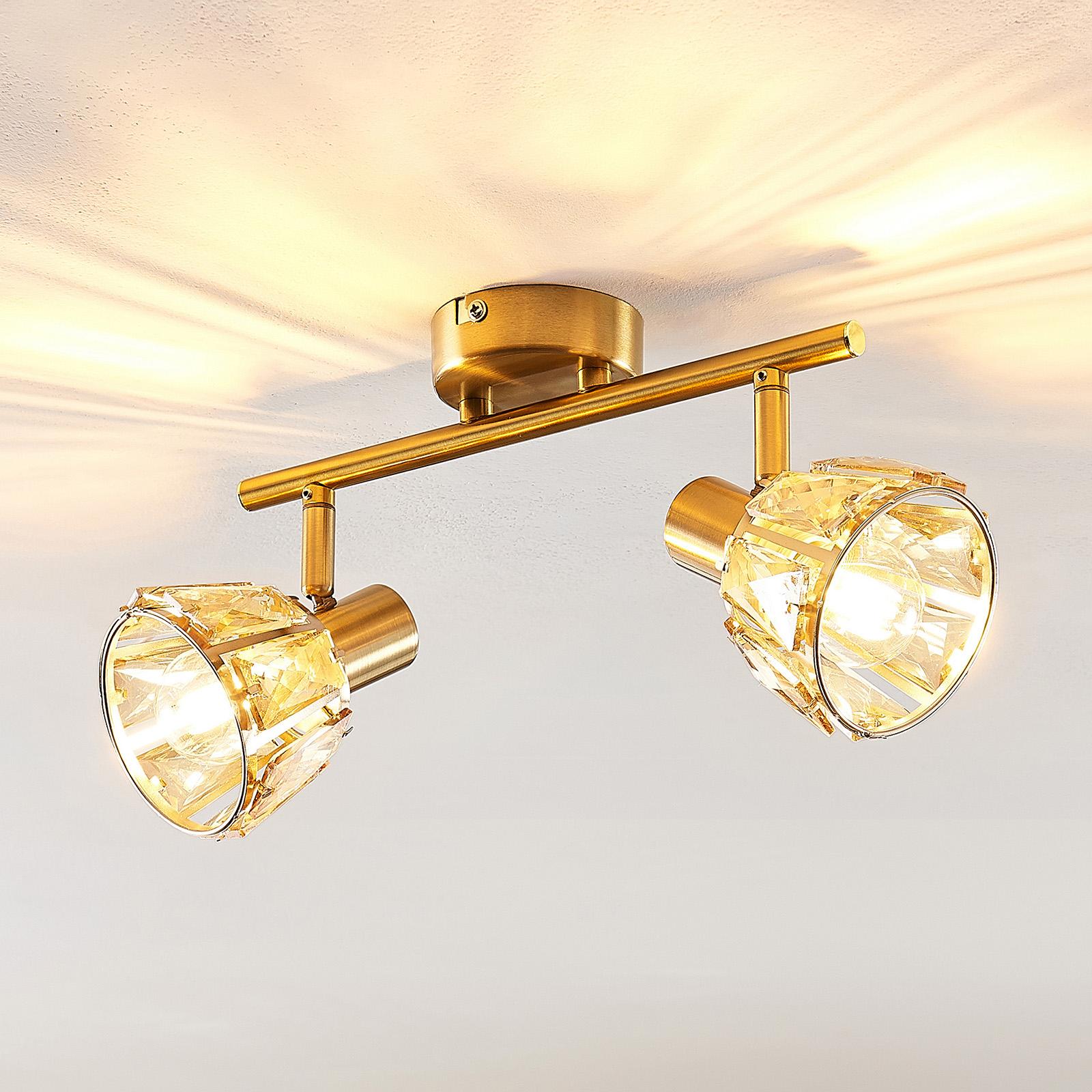 Lindby Kosta taklampe, 2 lyskilder, messing