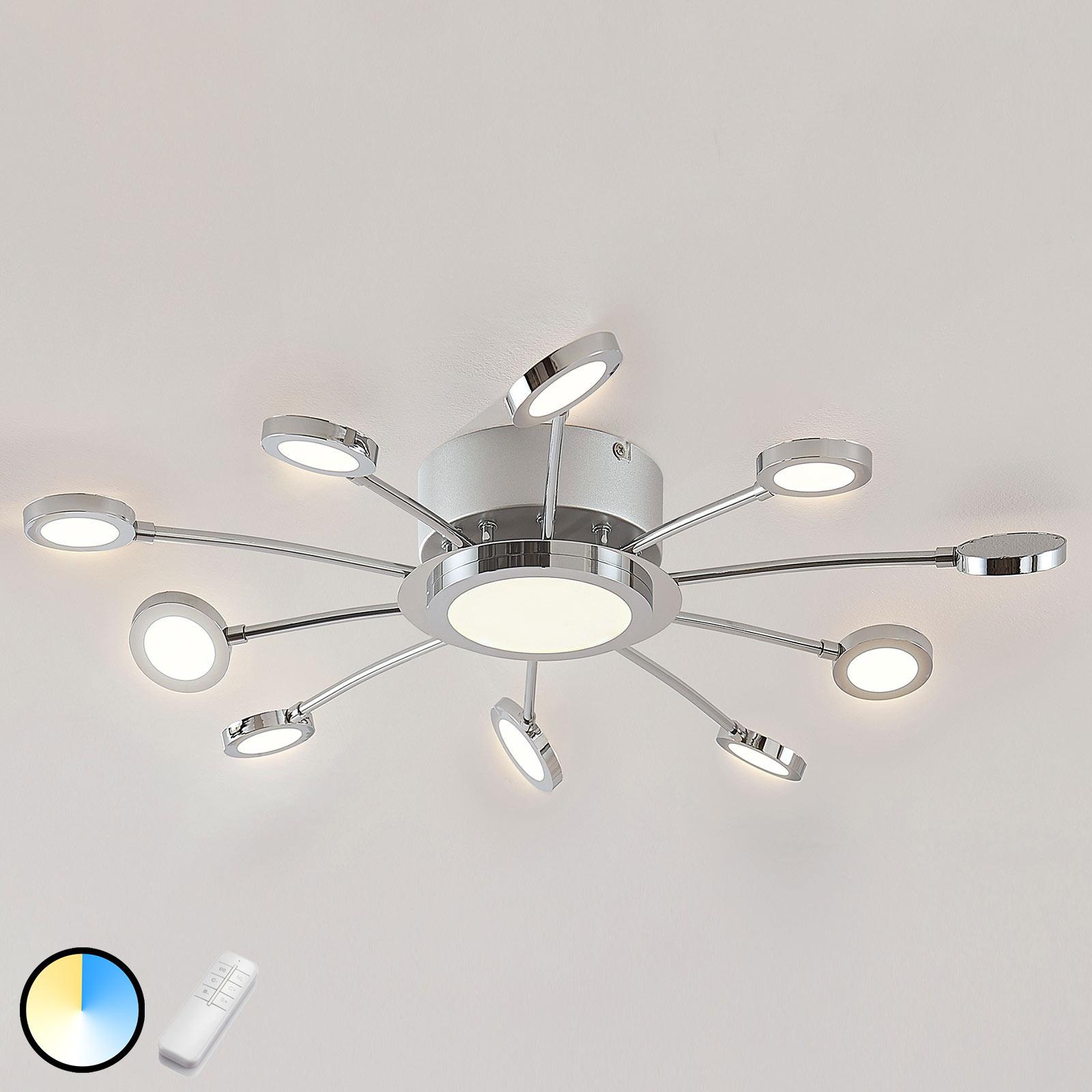 Plafonnier LED chromé Meru, lumière variable