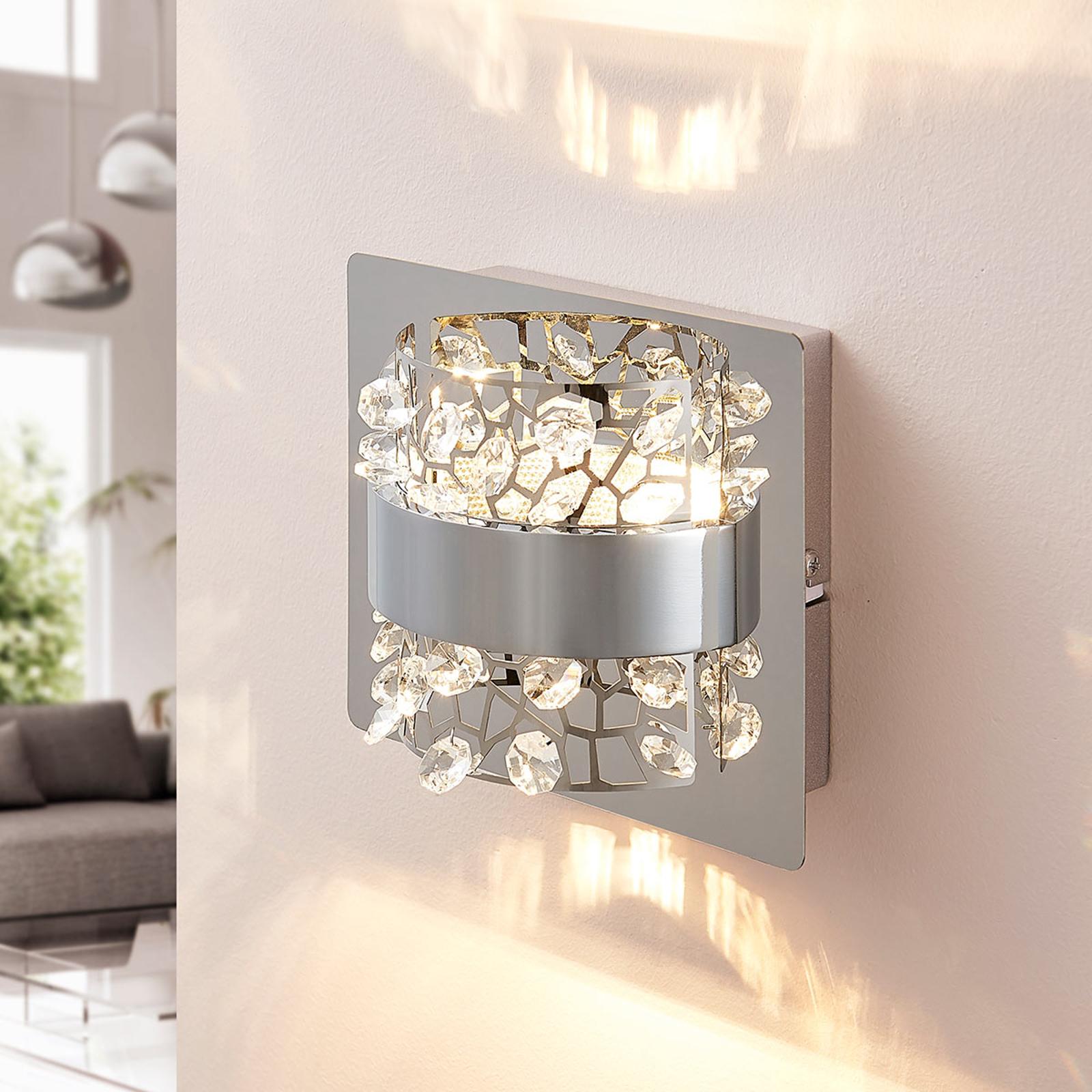 LED-Wandlampe Neelie mit Glassteinen, 1-flammig