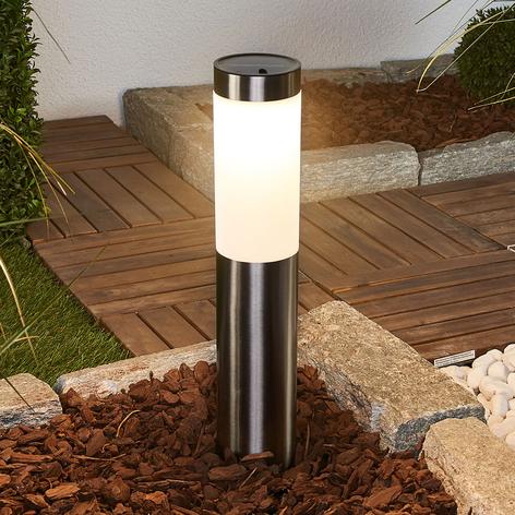 Solar-LED-Sockellampe Lenni, Edelstahl