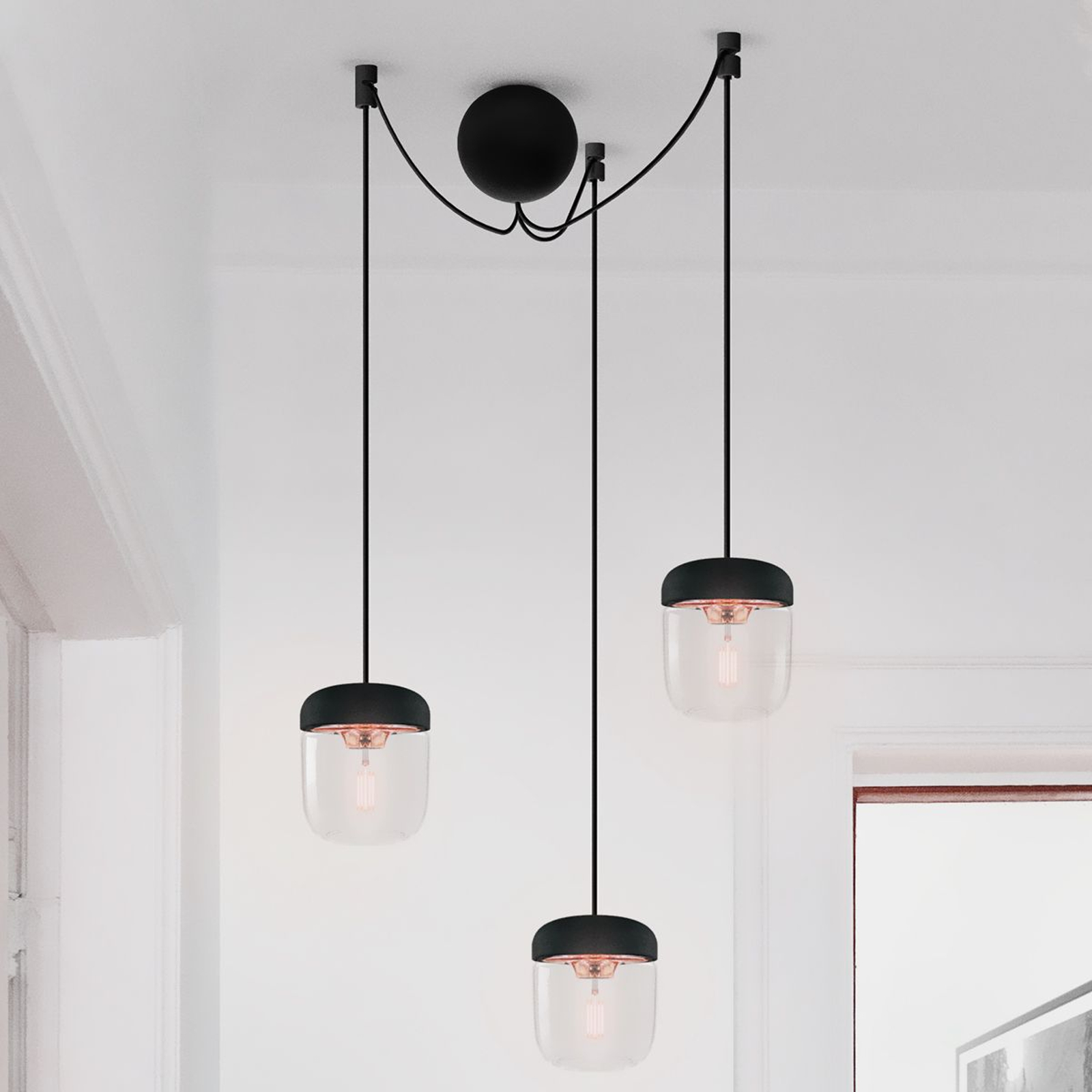 Suspension à 3 lampes Acorn, noir et cuivre