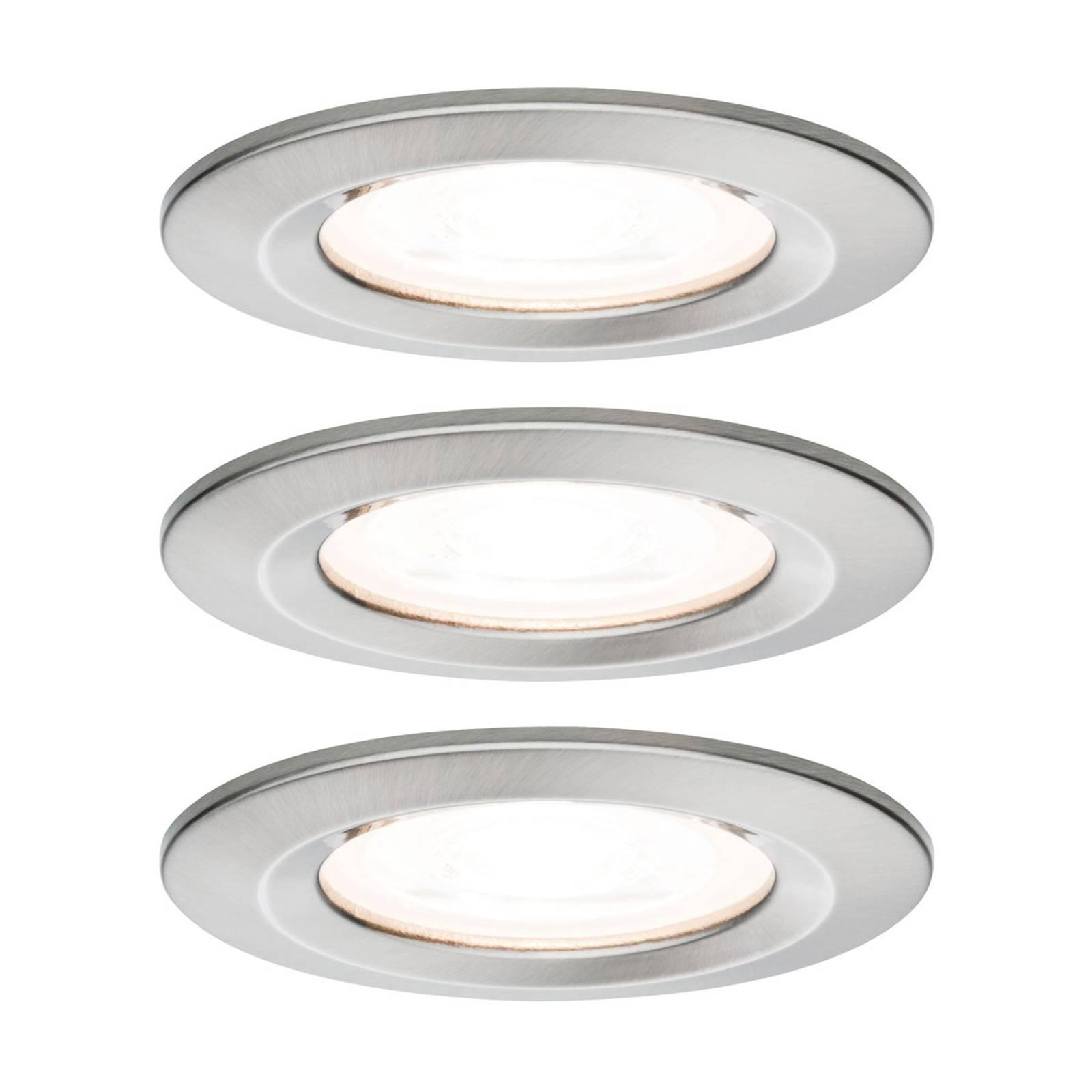 Paulmann Nova 3 faretti LED tondi, IP44, ferro
