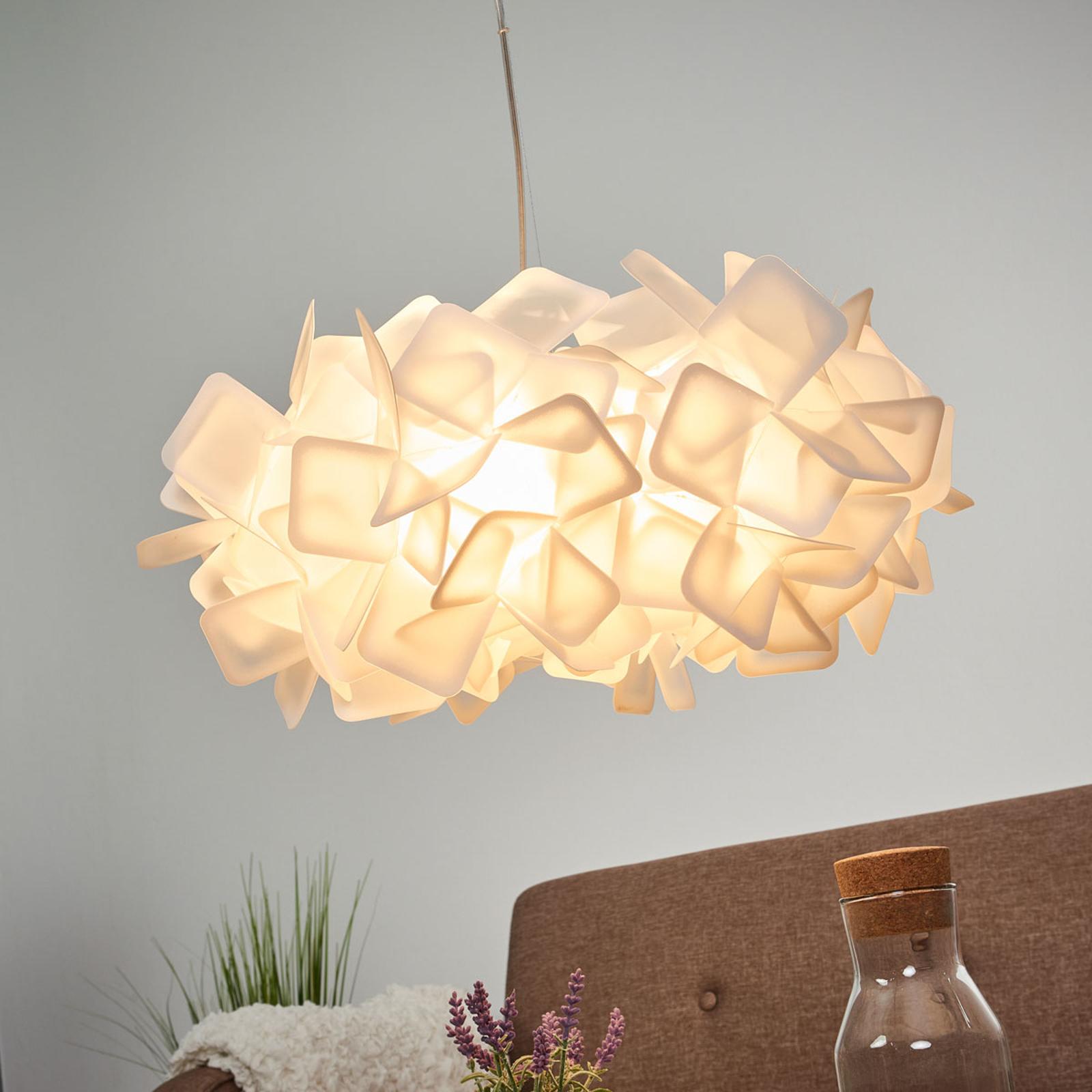 Ekscytująca lampa wisząca CLIZIA, biała