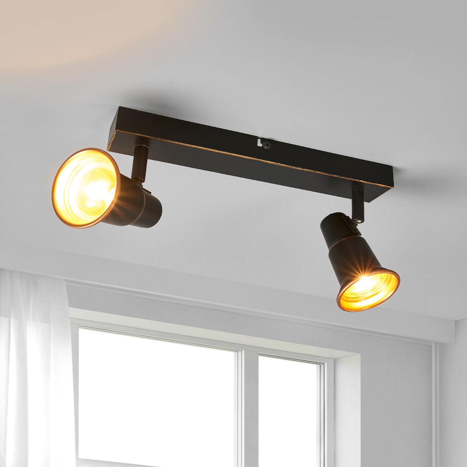 Plafonnier Arielle noir, à deux lampes