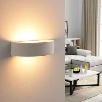 Lindby Aurel LED-Wandfluter, Gips, weiß, halbrund