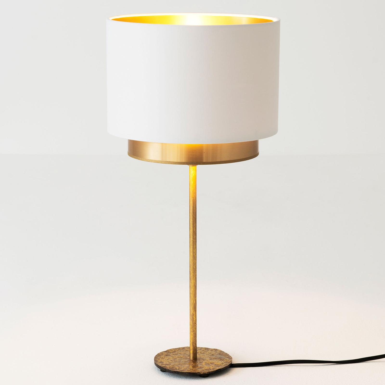 Lampada da tavolo Mattia, seta perlata bianco/oro