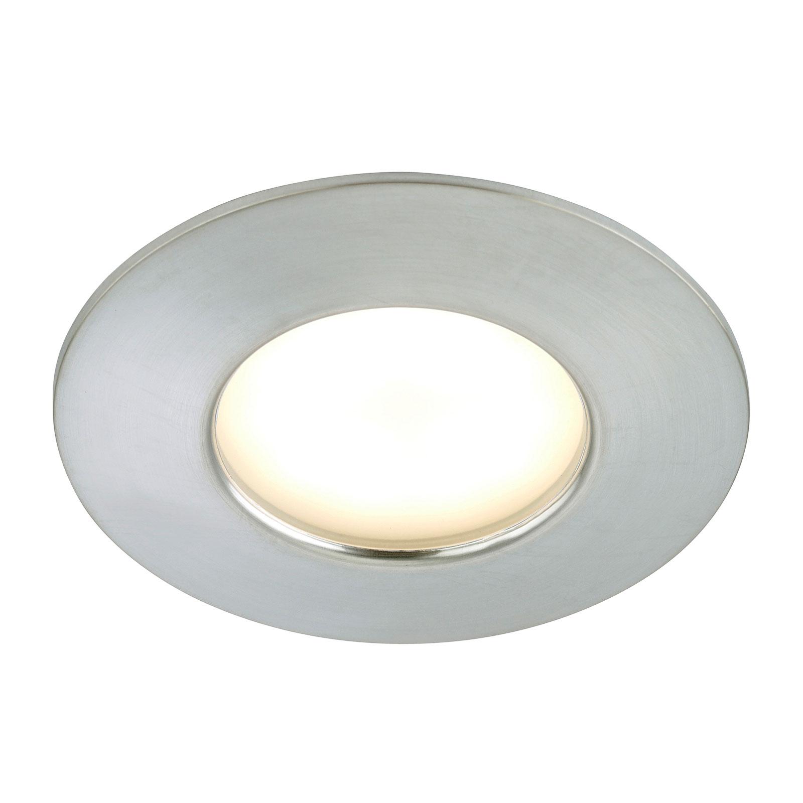 Aluminiumkleurige LED inbouwlamp Felia, IP44