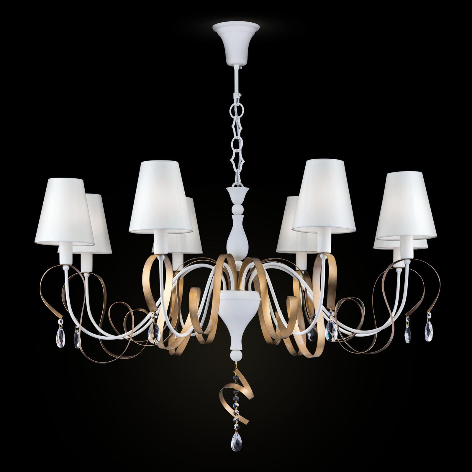 Textiele kroonluchter Intreccio met 8 lampjes
