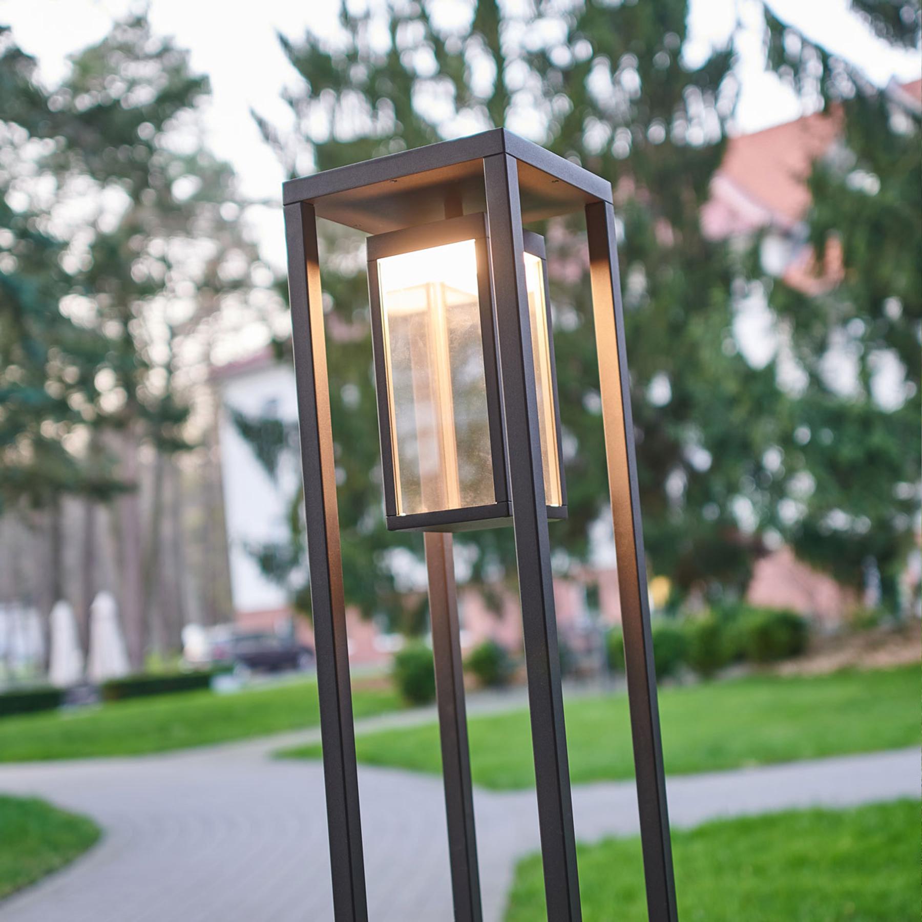 Ciemnoszary słupek ogrodowy LED Ferdinand, nowocz.