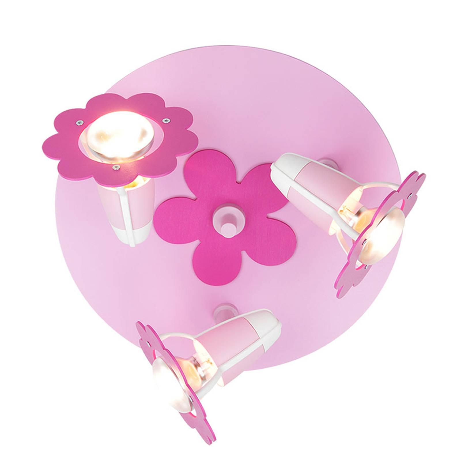 Plafondlamp bloem, roze, rond, 3-lamps