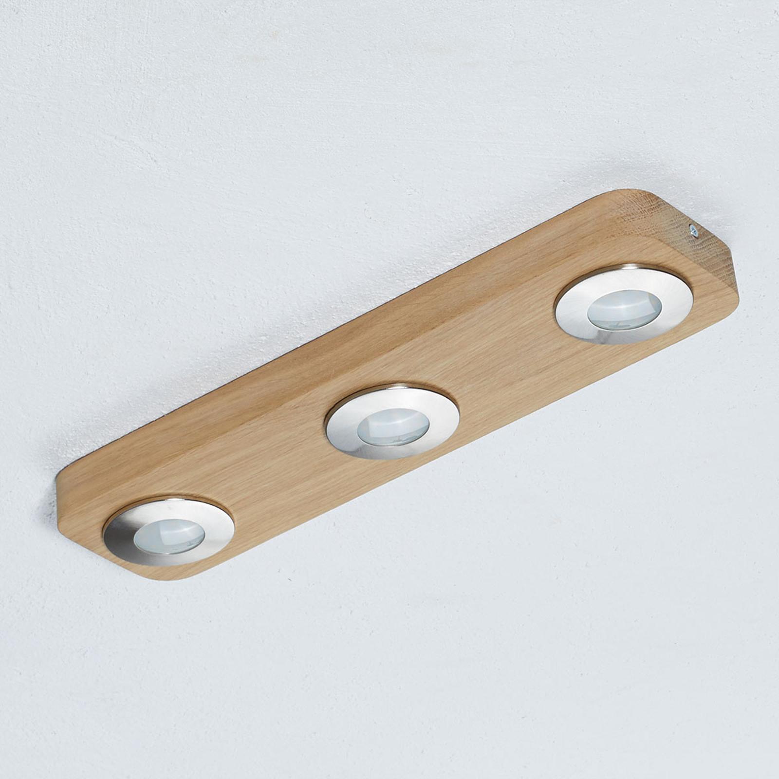 Längliche Holz-Deckenleuchte Sunniva mit LEDs
