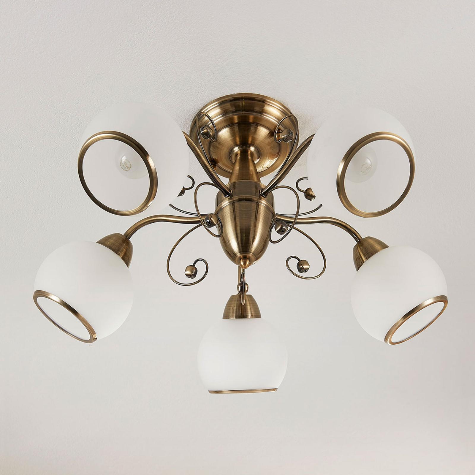 Fabelachtige plafondlamp Corentin, oudmessing