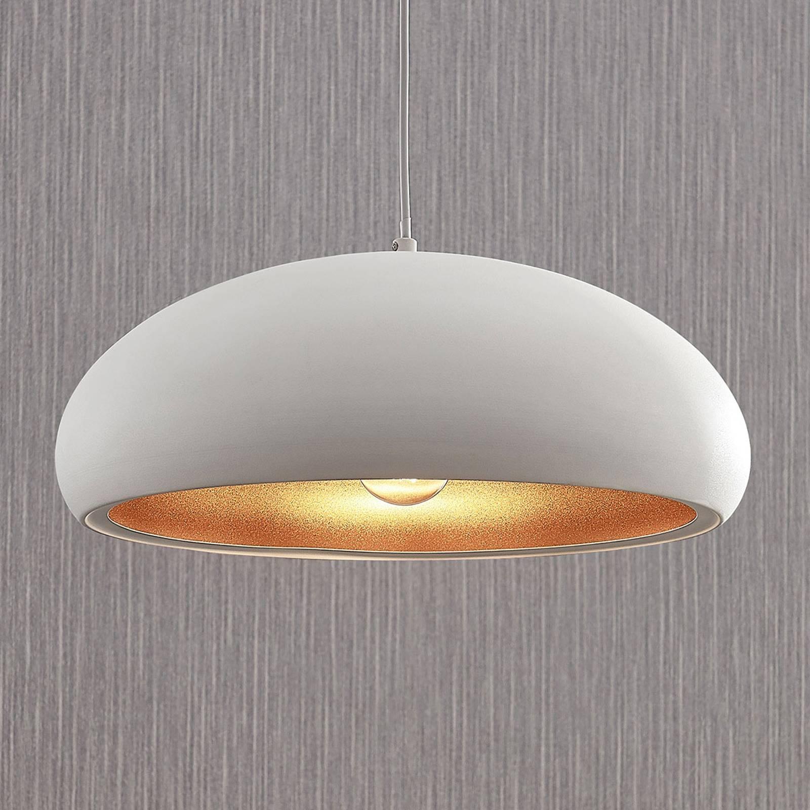 Metalowa lampa wisząca Gerwina, biało-złota
