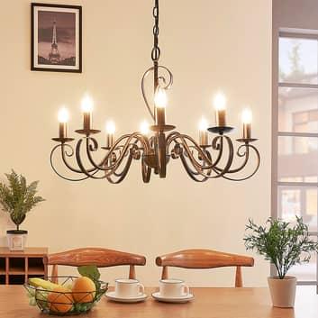 Caleb - lustre style champêtre à huit lampes