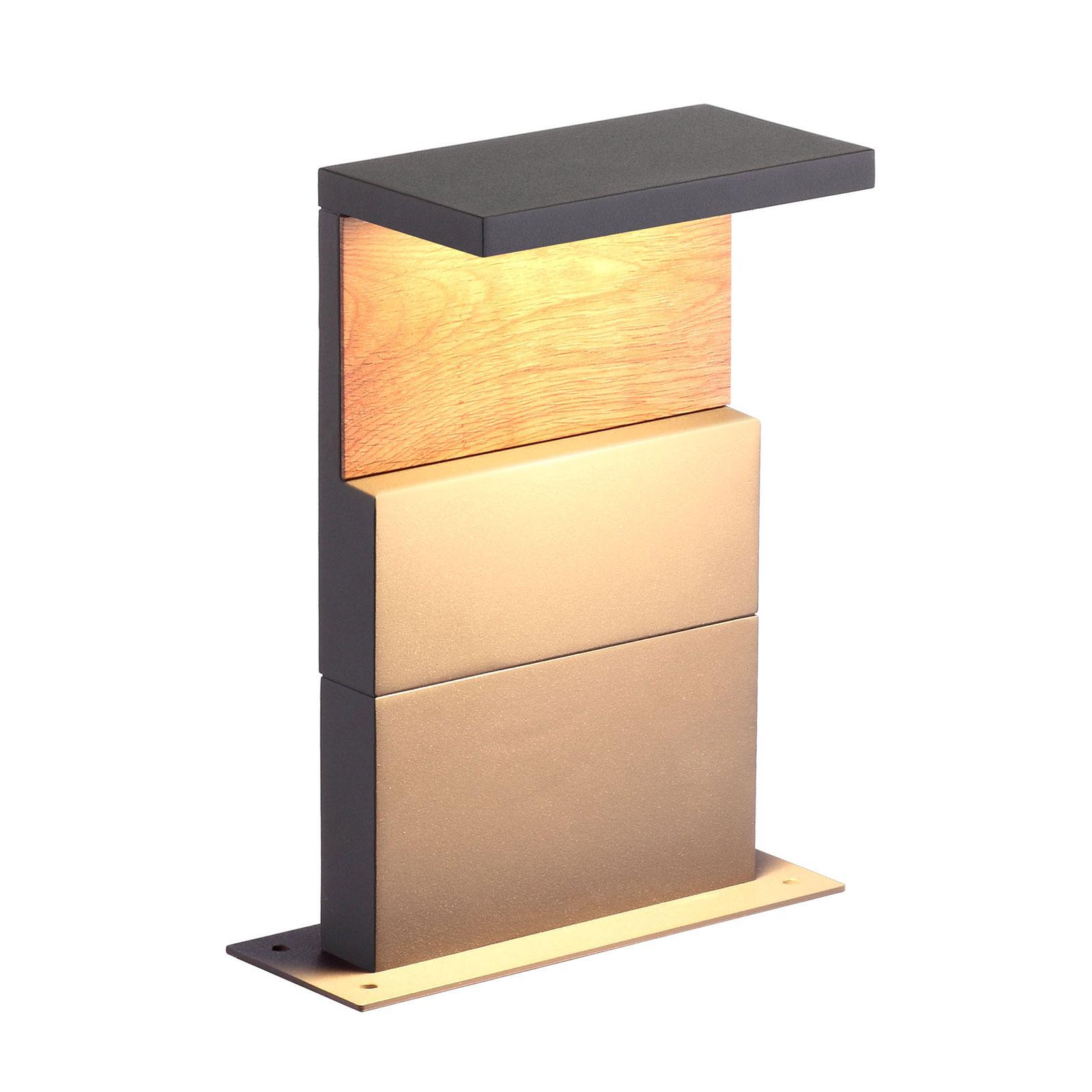 Lampioncino LED Ruka con elemento legno, 35 cm