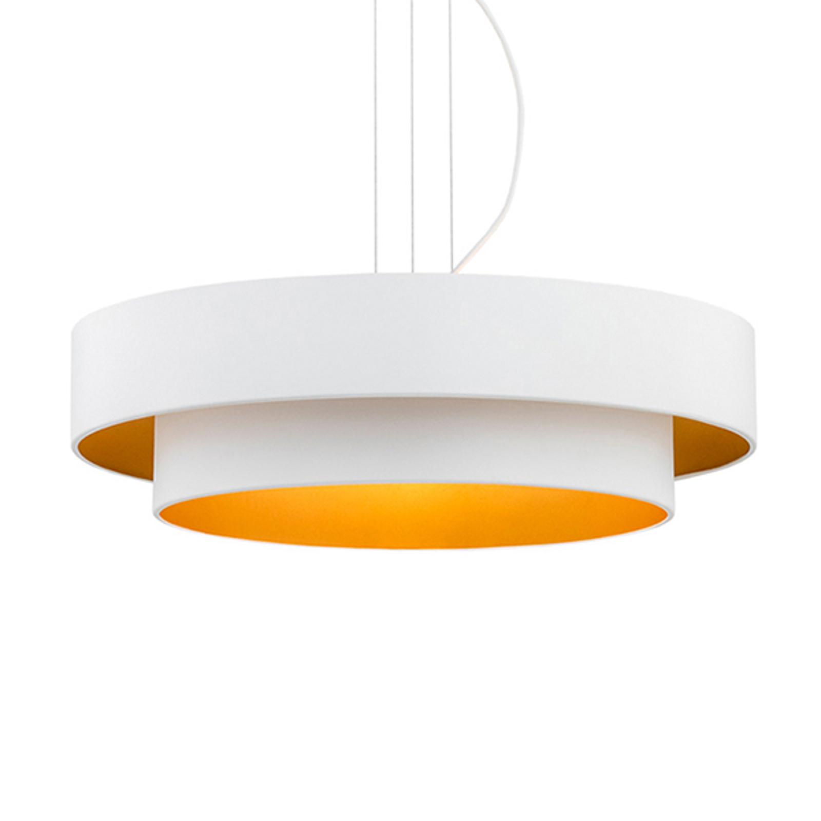 Hengelampe Fredik, Ø 60 cm, hvit/gull