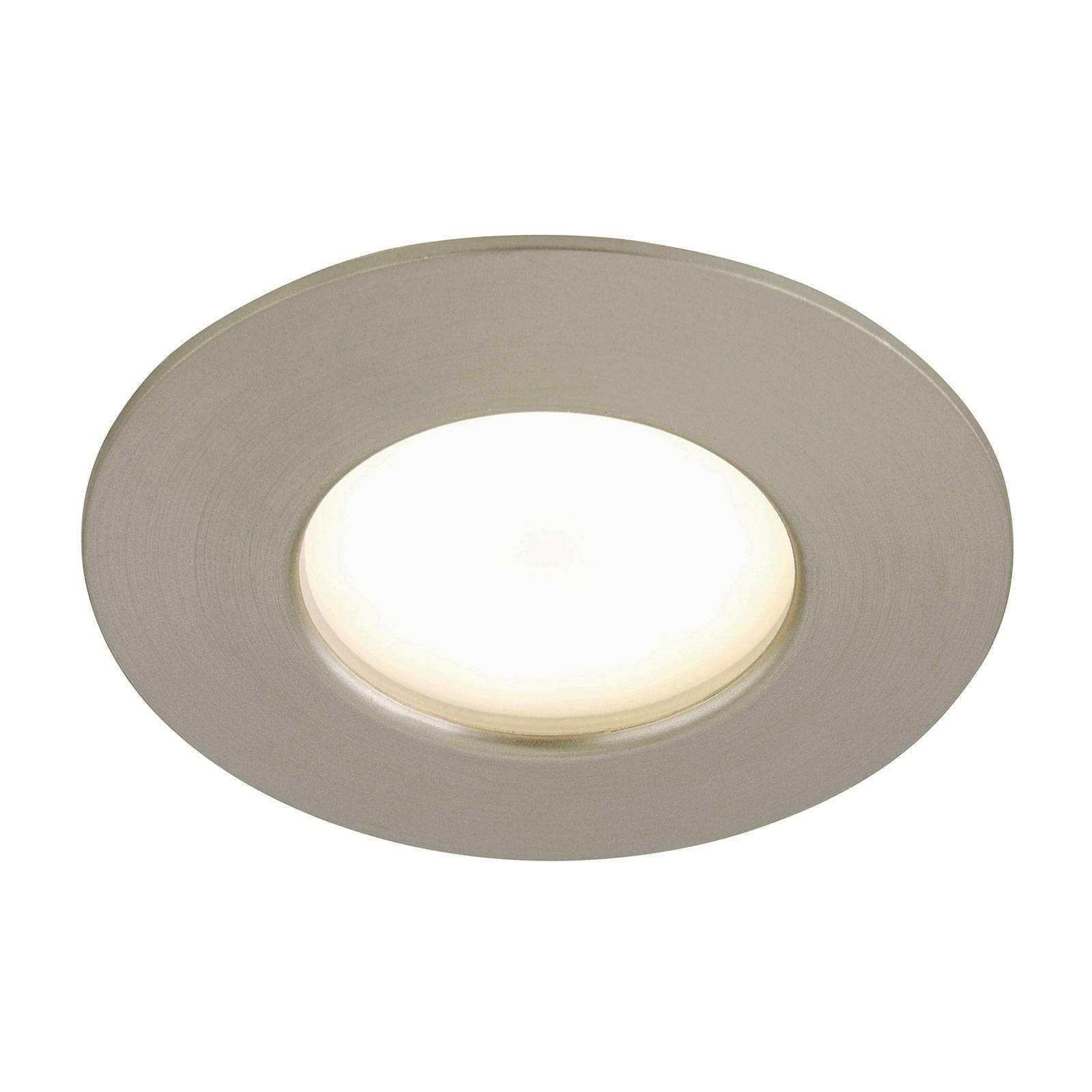 Spot encastré LED Felia IP44, nickel mat