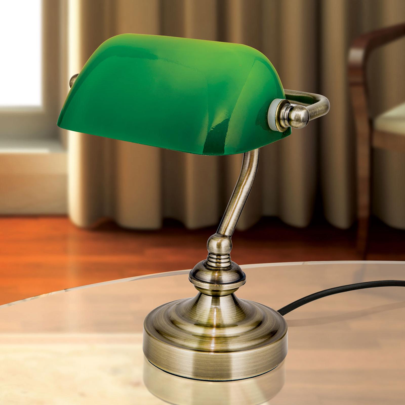 Zora - Banker-Tischleuchte mit grünem Glasschirm