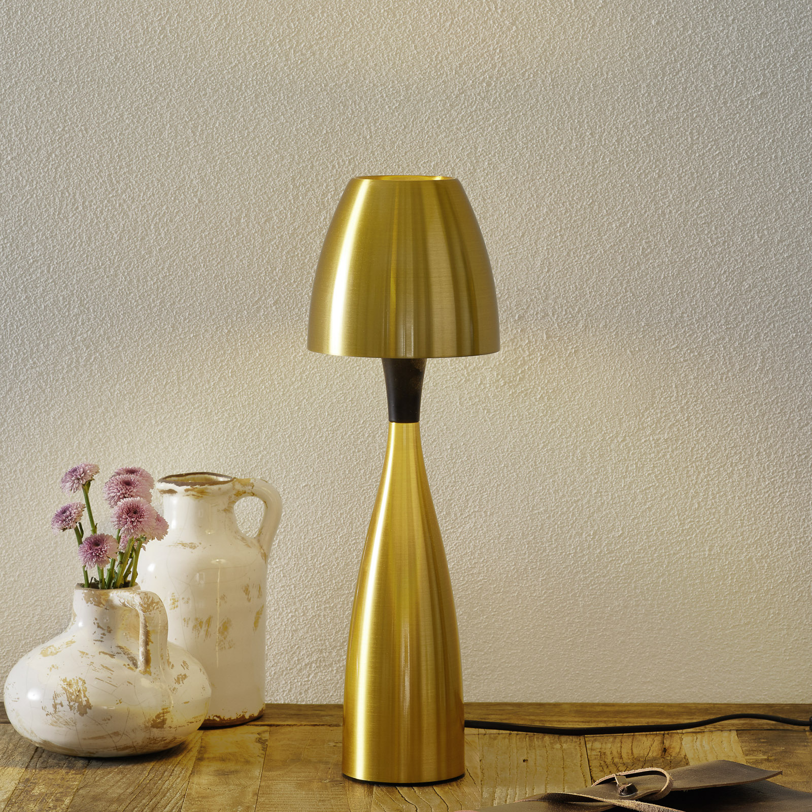 Messingkleurige LED tafellamp Anemon 38,9 cm