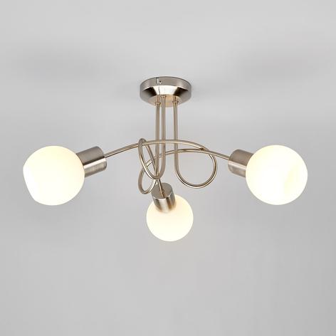Trepunkts LED-taklampe Elaina med LED, matt nikkel