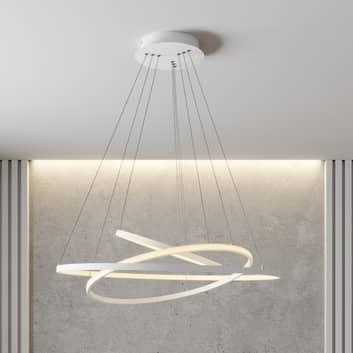 Lampa wisząca LED Ezana, trzy pierścienie, biała