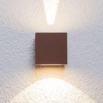 Rostbrun LED-utomhusvägglampa Jarno, kubformad