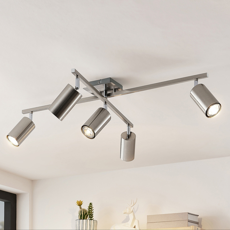 Lindby Ebardo taklampe, fem lyskilder, nikkel