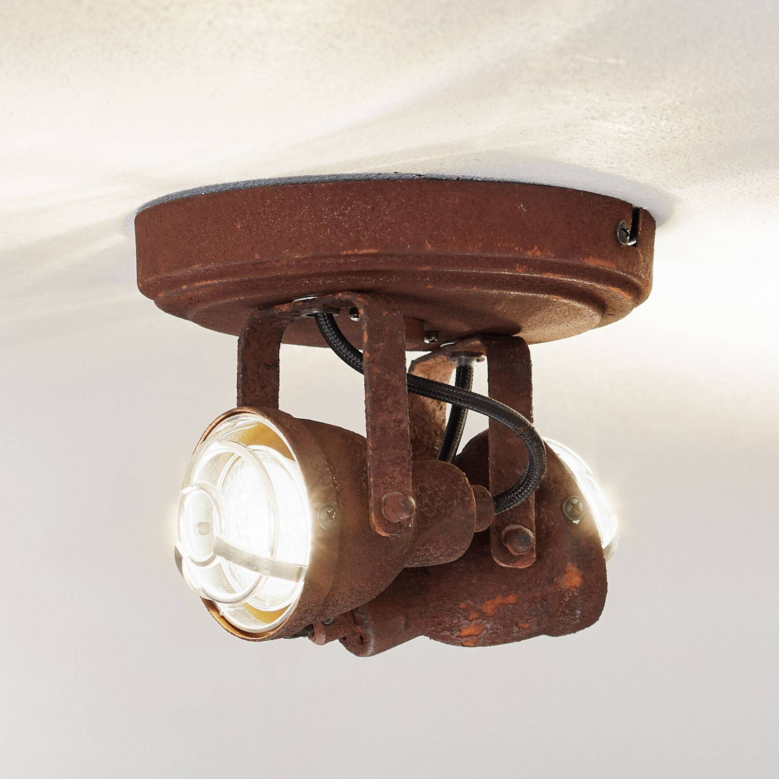 Plafondlamp Bente roest rond met 2 lampjes