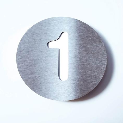 Husnummer Round av rostfritt stål