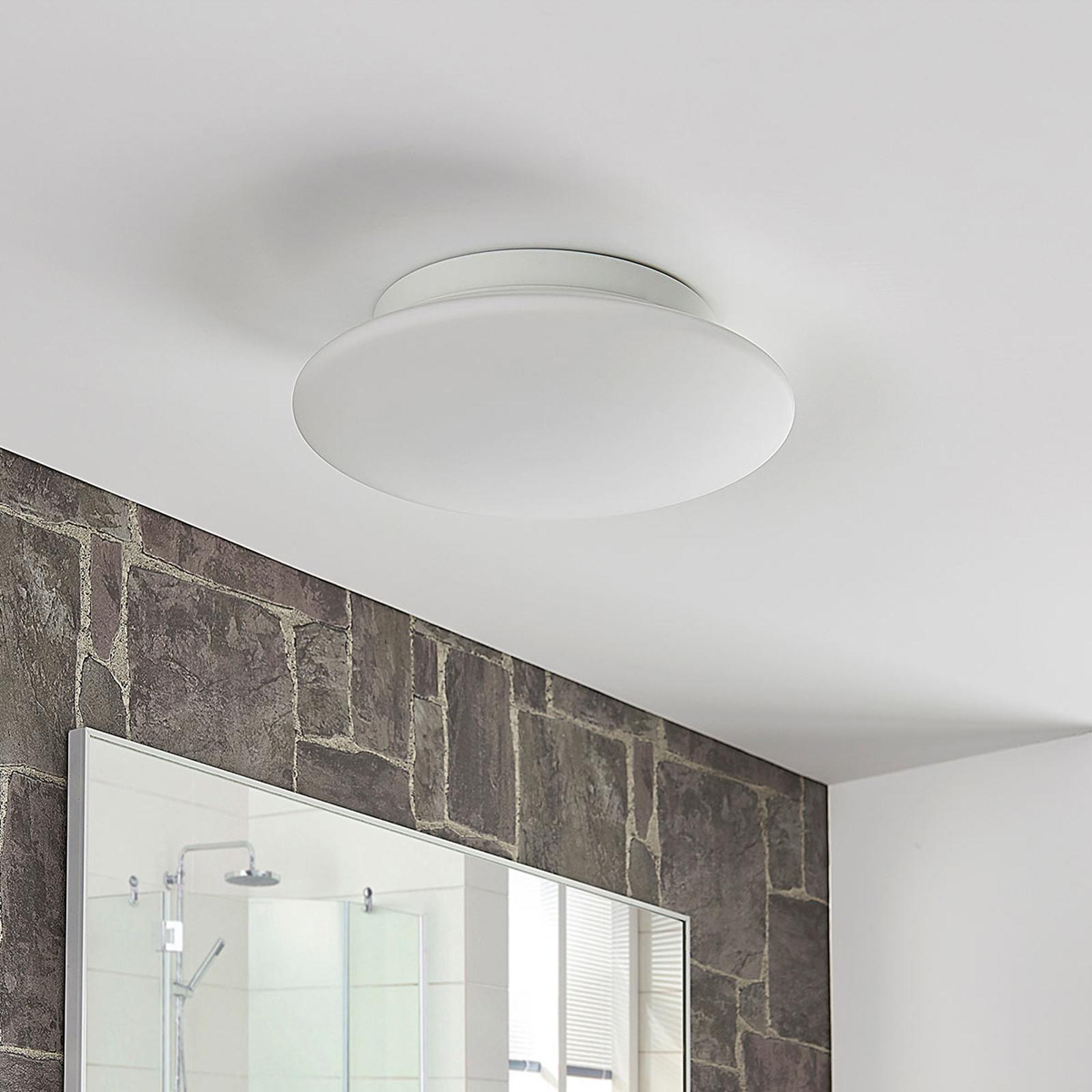 Runde Glas-LED-Deckenleuchte Toan, IP44 dimmbar