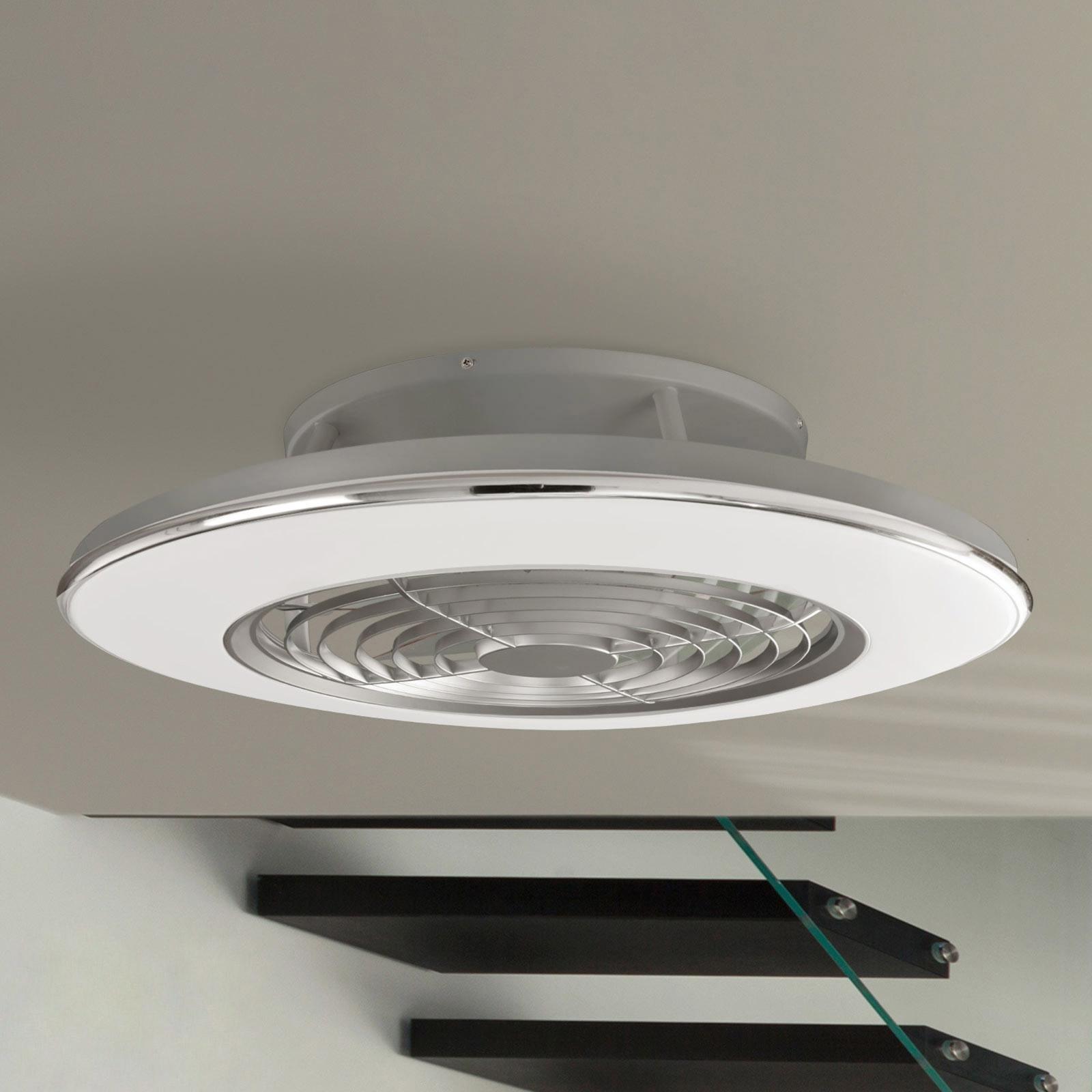 Ventilateur de plafond LED Alisio, appli, chromé