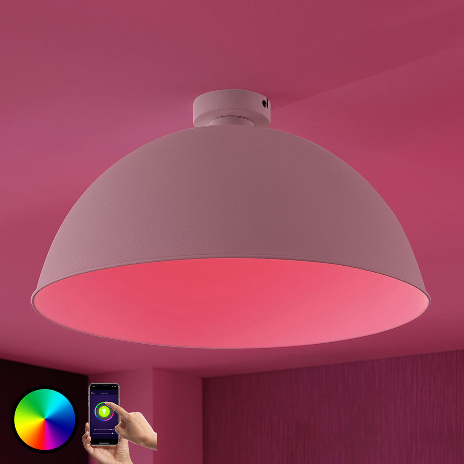Lindby Smart LED-taklampe Bowl 51 cm sølv