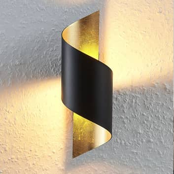 Lámpara de pared LED metálica Desirio, oro negro